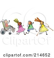 Royalty Free RF Clipart Illustration Of A Childs Sketch Of A Happy Group Of Disabled Kids