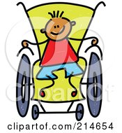 Royalty Free RF Clipart Illustration Of A Childs Sketch Of A Boy In A Wheelchair