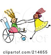 Royalty Free RF Clipart Illustration Of A Childs Sketch Of A Girl In A Wheelchair Playing With Her Friend by Prawny