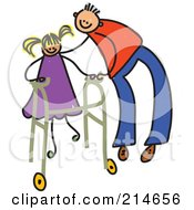 Royalty Free RF Clipart Illustration Of A Childs Sketch Of A Father Helping A Girl Use A Walker by Prawny