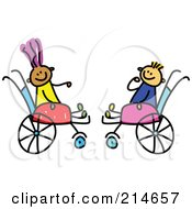 Royalty Free RF Clipart Illustration Of A Childs Sketch Of Two Kids In Wheelchairs
