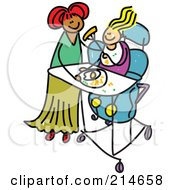 Royalty Free RF Clipart Illustration Of A Childs Sketch Of A Mother Feeding Her Disabled Daughter by Prawny
