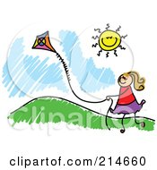 Royalty Free RF Clipart Illustration Of A Childs Sketch Of A Girl Flying A Kite By A Hill by Prawny