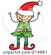 Royalty Free RF Clipart Illustration Of A Childs Sketch Of A Christmas Elf Boy