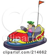 Royalty Free RF Clipart Illustration Of A Childs Sketch Of A Boy Riding A Bumper Car