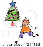 Royalty Free RF Clipart Illustration Of A Childs Sketch Of A Boy Carrying A Small Christmas Tree