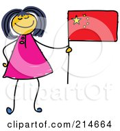 Royalty Free RF Clipart Illustration Of A Childs Sketch Of A Chinese Girl Holding A Flag