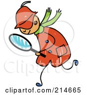 Royalty Free RF Clipart Illustration Of A Childs Sketch Of A Detective Boy