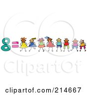 Royalty Free RF Clipart Illustration Of A Childs Sketch Of The Number 8 Equals Eight Children