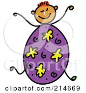 Childs Sketch Of A Boy With An Easter Egg Body