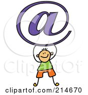 Royalty Free RF Clipart Illustration Of A Childs Sketch Of An Email Boy