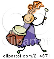 Royalty Free RF Clipart Illustration Of A Childs Sketch Of A Girl Running With A Drum