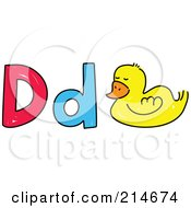 Royalty Free RF Clipart Illustration Of A Childs Sketch Of Lowercase And Capital Ds With A Duck