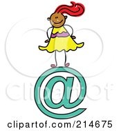 Royalty Free RF Clipart Illustration Of A Childs Sketch Of An Email Girl