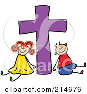 Royalty Free RF Clipart Illustration Of A Childs Sketch Of A Boy And Girl With A Purple Cross