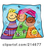 Royalty Free RF Clipart Illustration Of A Childs Sketch Of Three Happy Kids by Prawny