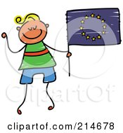 Royalty Free RF Clipart Illustration Of A Childs Sketch Of A Boy Holding A European Flag