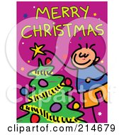 Royalty Free RF Clipart Illustration Of A Childs Sketch Of A Boy Decorating A Tree Under Merry Christmas