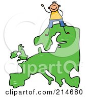 Royalty Free RF Clipart Illustration Of A Childs Sketch Of A Happy European Boy On A Map Of Asia