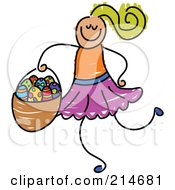 Royalty Free RF Clipart Illustration Of A Childs Sketch Of A Girl Carrying An Easter Basket by Prawny