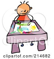 Royalty Free RF Clipart Illustration Of A Childs Sketch Of A Toddler Boy Coloring A Picture