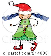Royalty Free RF Clipart Illustration Of A Childs Sketch Of A Christmas Elf Girl