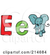 Royalty Free RF Clipart Illustration Of A Childs Sketch Of E Is For Elephant