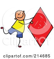 Royalty Free RF Clipart Illustration Of A Childs Sketch Of A Boy With A Red Diamond