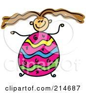 Royalty Free RF Clipart Illustration Of A Childs Sketch Of A Girl With An Easter Egg Body by Prawny