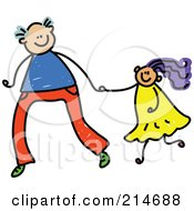Royalty Free RF Clipart Illustration Of A Childs Sketch Of A Father Holding Hands With His Daughter 1