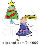 Childs Sketch Of A Girl Carrying A Small Christmas Tree