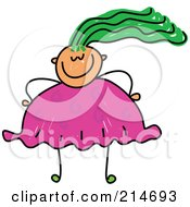 Royalty Free RF Clipart Illustration Of A Childs Sketch Of An Overweight Girl