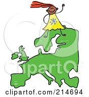 Royalty Free RF Clipart Illustration Of A Childs Sketch Of A Happy European Girl On A Map Of Asia by Prawny
