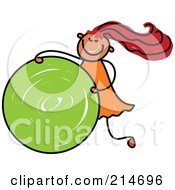 Royalty Free RF Clipart Illustration Of A Childs Sketch Of A Girl Rolling A Green Circle by Prawny