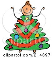 Royalty Free RF Clipart Illustration Of A Childs Sketch Of A Boy With A Christmas Tree Body by Prawny