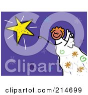Royalty Free RF Clipart Illustration Of A Childs Sketch Of An Angel By A Star