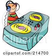 Royalty Free RF Clipart Illustration Of A Childs Sketch Of A DJ