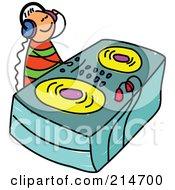 Royalty Free RF Clipart Illustration Of A Childs Sketch Of A DJ by Prawny