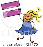 Childs Sketch Of A Girl Holding An Equal Sign