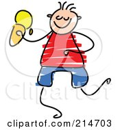 Royalty Free RF Clipart Illustration Of A Childs Sketch Of A Boy Eating Ice Cream by Prawny