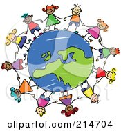 Royalty Free RF Clipart Illustration Of A Childs Sketch Of Children Holding Hands Around A European Globe