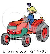 Royalty Free RF Clipart Illustration Of A Childs Sketch Of A Farmer Boy Riding A Tractor