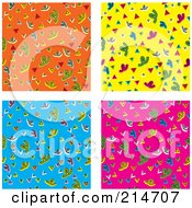 Royalty Free RF Clipart Illustration Of A Digital Collage Of Four Colorful Confetti Pattern Backgrounds