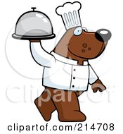 Royalty Free RF Clipart Illustration Of A Chef Bear Walking And Carrying A Platter