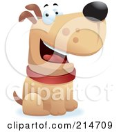 Royalty Free RF Clipart Illustration Of A Happy Sitting Dog