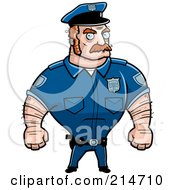 Royalty Free RF Clipart Illustration Of A Strong And Tough Male Cop by Cory Thoman
