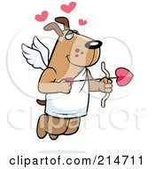 Royalty Free RF Clipart Illustration Of A Flying Dog Cupid With Hearts And An Arrow by Cory Thoman
