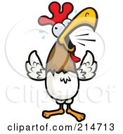 Royalty Free RF Clipart Illustration Of A Crowing Rooster Sweating by Cory Thoman