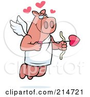 Royalty Free RF Clipart Illustration Of A Flying Pig Cupid With Hearts And An Arrow