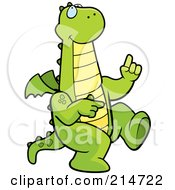 Royalty Free RF Clipart Illustration Of A Happy Dancing Green Dragon